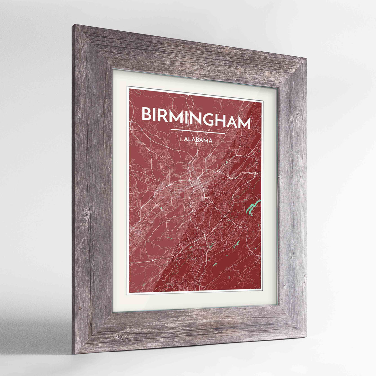 "Framed Birmingham - Alabama Map Art Print 24x36"" Western Grey frame Point Two Design Group"