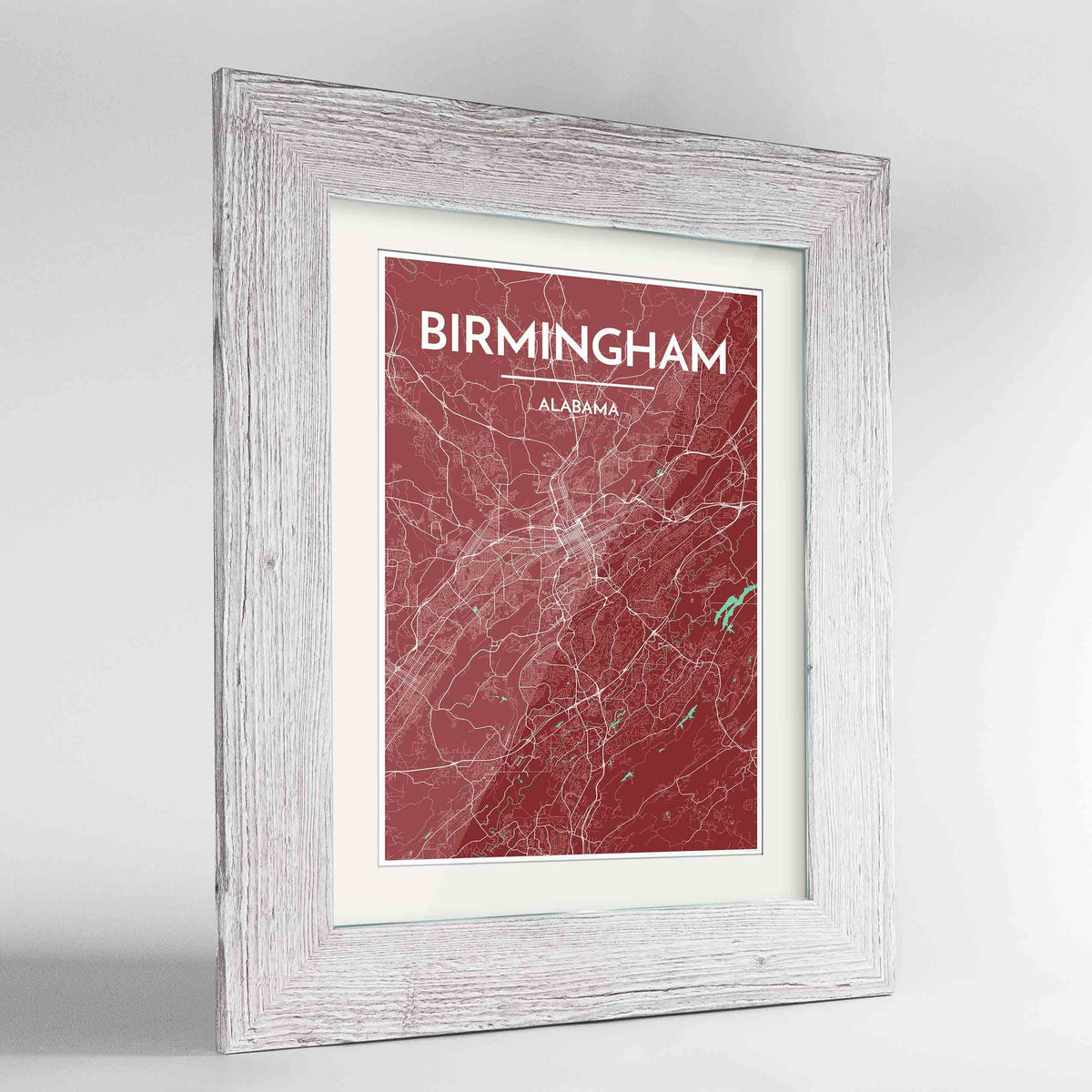 "Framed Birmingham - Alabama Map Art Print 24x36"" Western White frame Point Two Design Group"