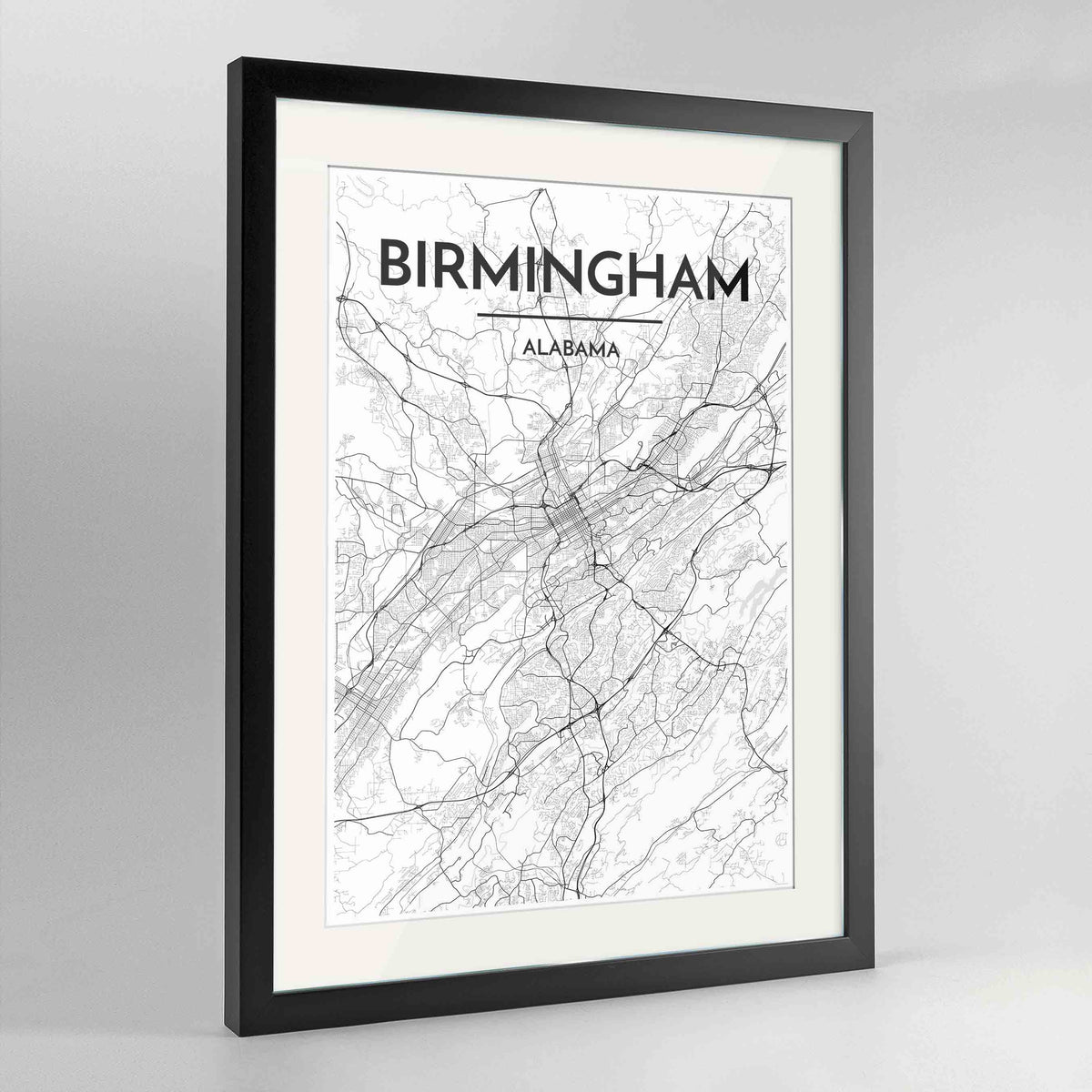 "Framed Birmingham - Alabama Map Art Print 24x36"" Contemporary Black frame Point Two Design Group"