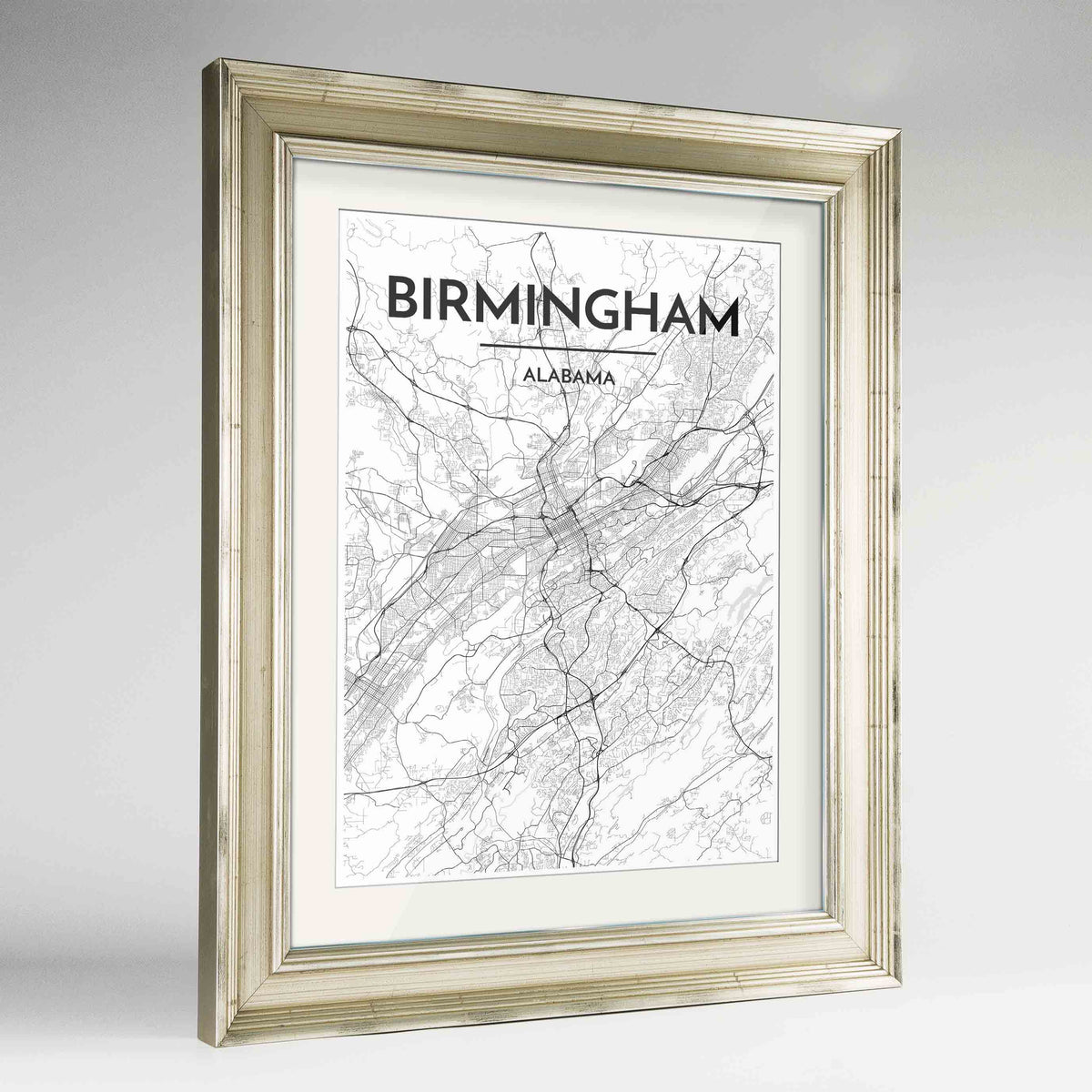 "Framed Birmingham - Alabama Map Art Print 24x36"" Champagne frame Point Two Design Group"