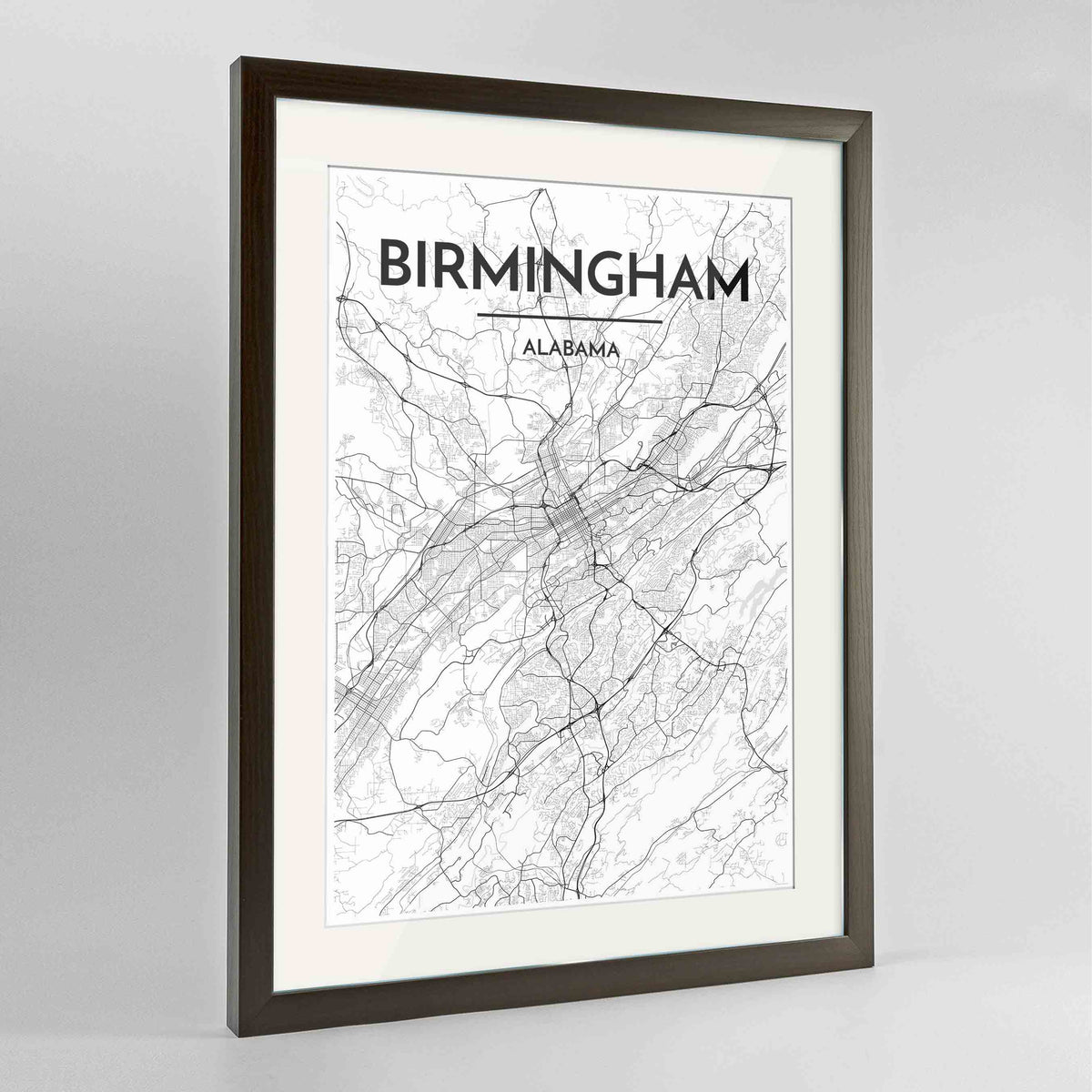 "Framed Birmingham - Alabama Map Art Print 24x36"" Contemporary Walnut frame Point Two Design Group"