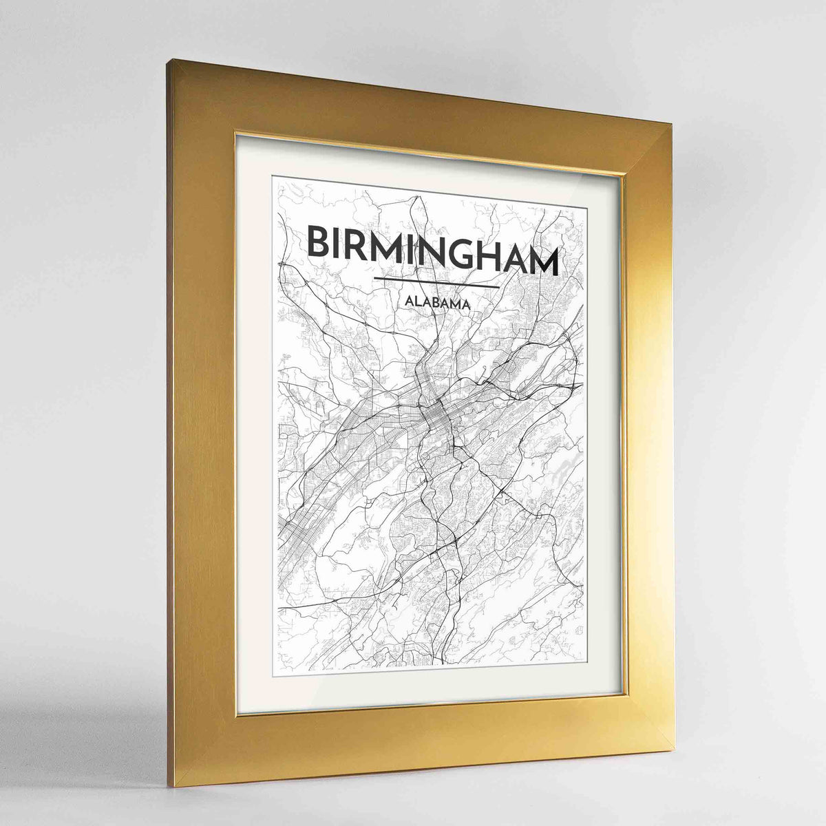 "Framed Birmingham - Alabama Map Art Print 24x36"" Gold frame Point Two Design Group"
