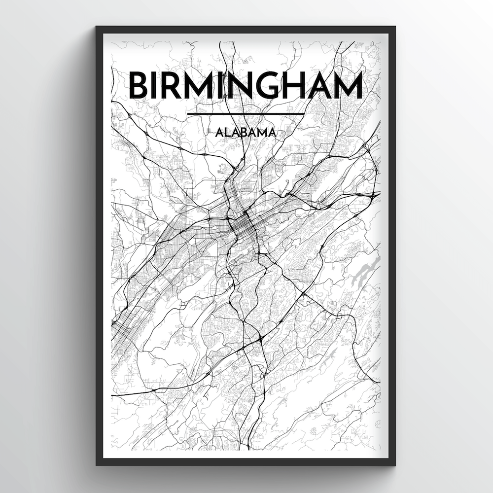 Birmingham - Alabama Map Art Print - Point Two Design