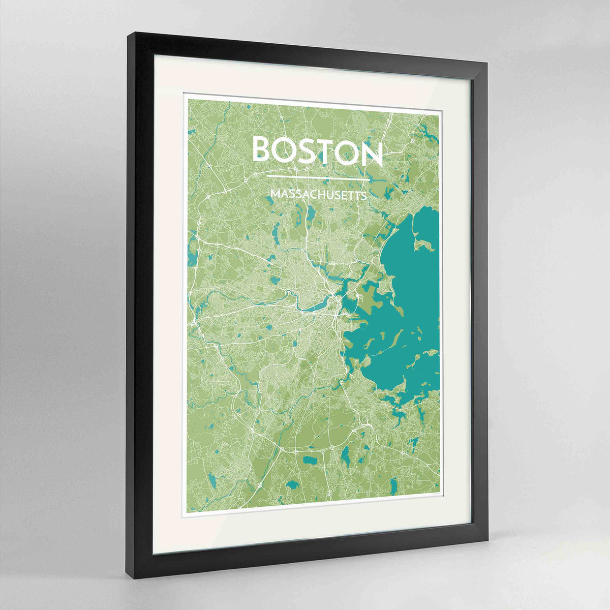 "Framed Boston Map Art Print 24x36"" Contemporary Black frame Point Two Design Group"