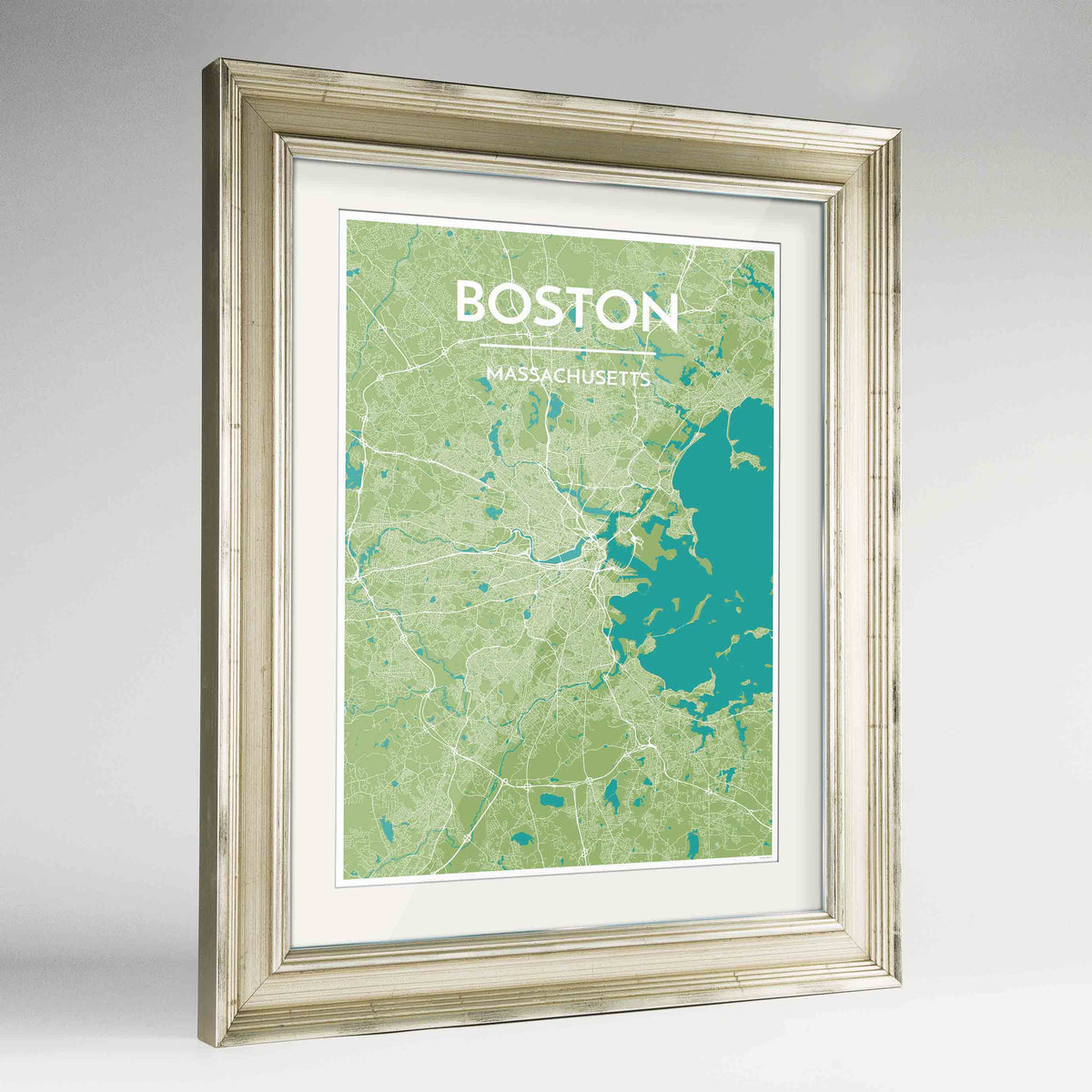 "Framed Boston Map Art Print 24x36"" Champagne frame Point Two Design Group"