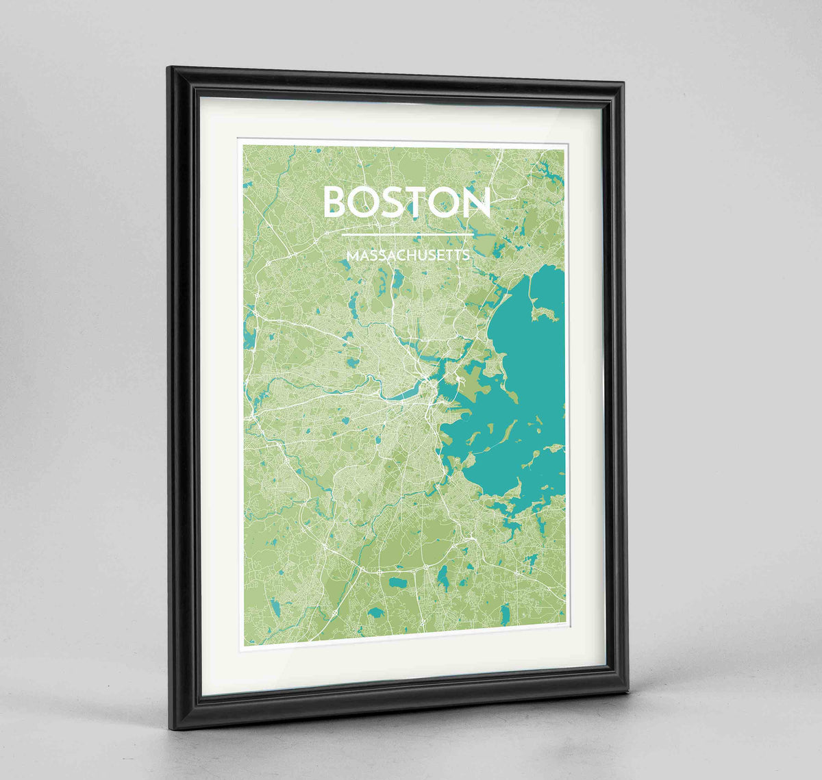 "Framed Boston Map Art Print 24x36"" Traditional Black frame Point Two Design Group"
