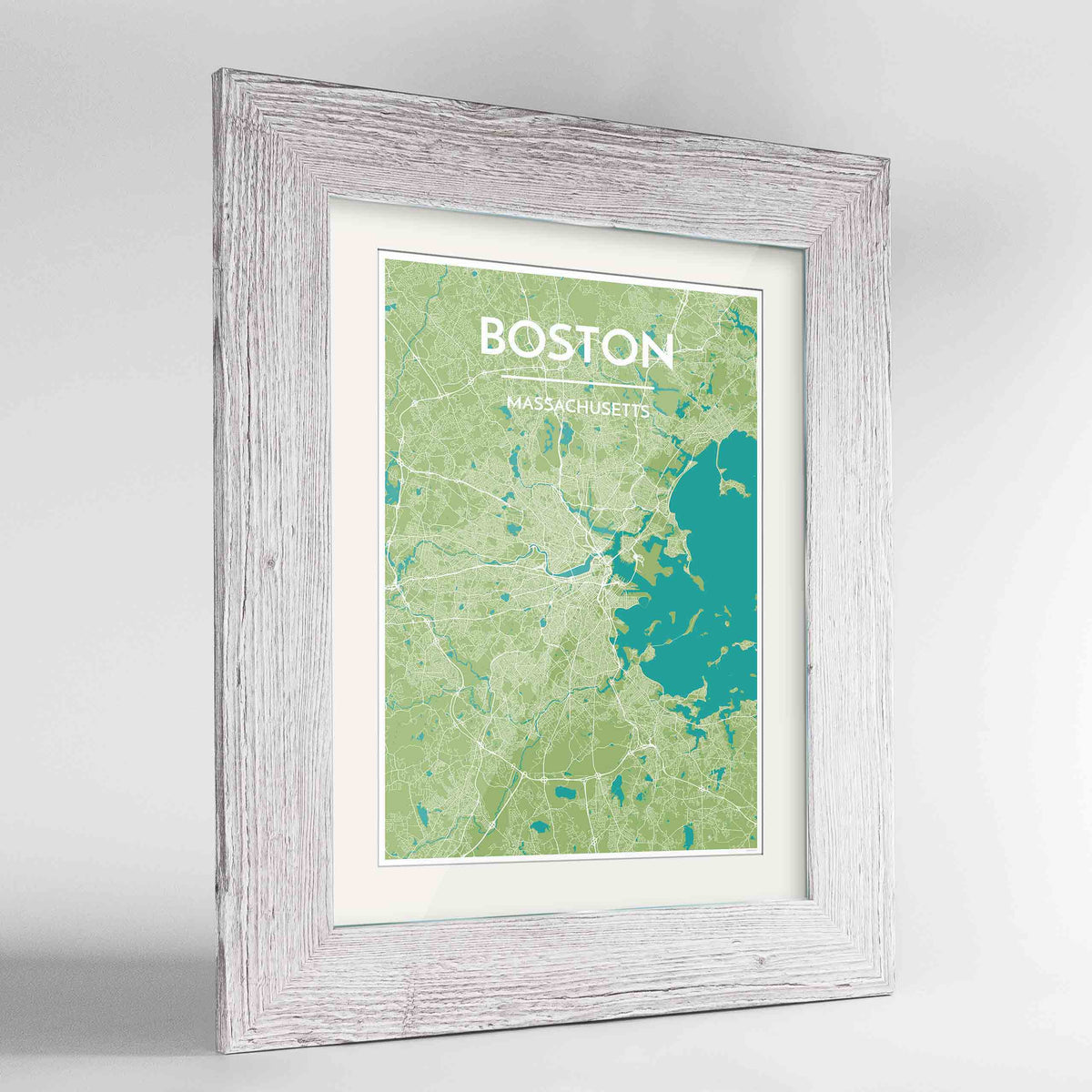 "Framed Boston Map Art Print 24x36"" Western White frame Point Two Design Group"