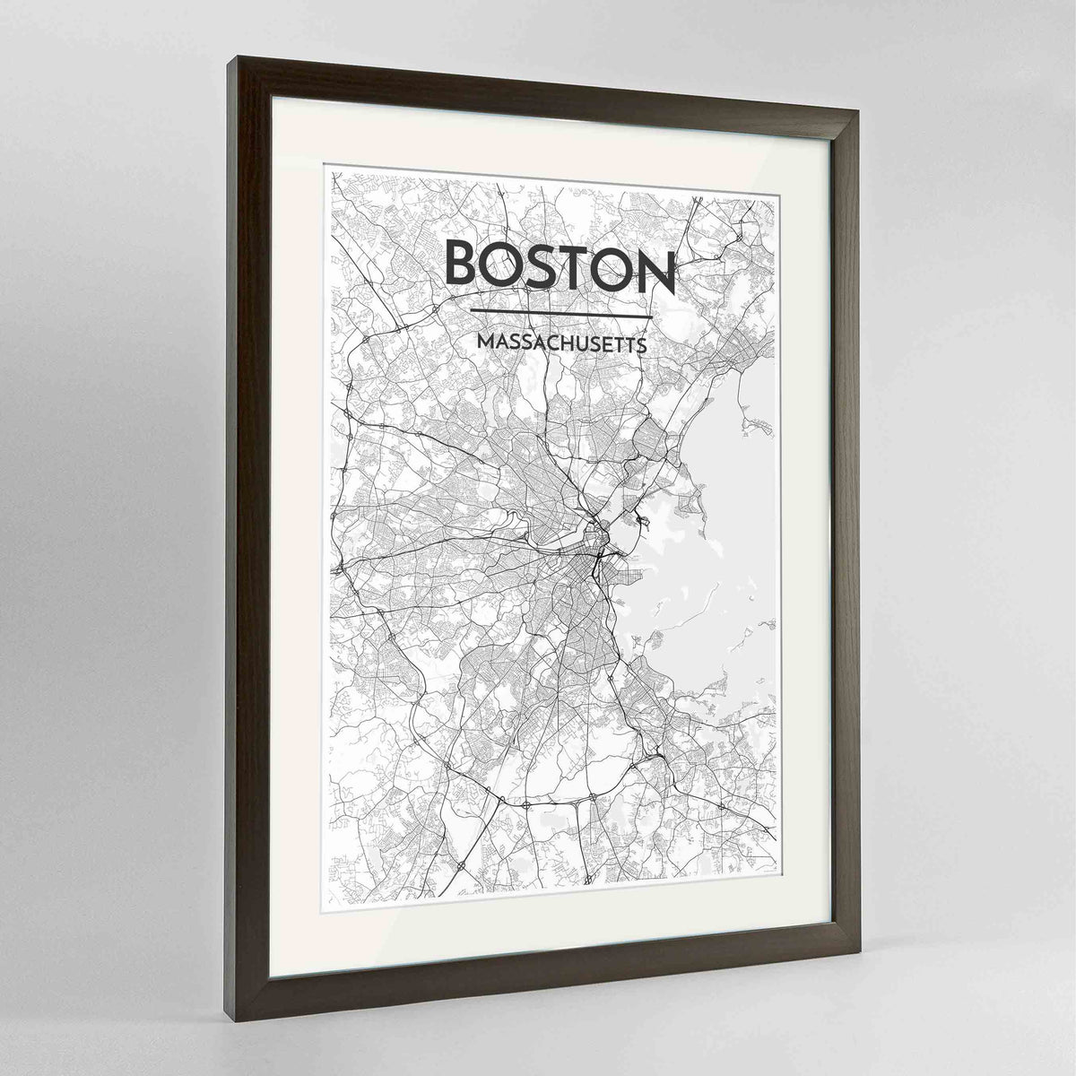 "Framed Boston Map Art Print 24x36"" Contemporary Walnut frame Point Two Design Group"