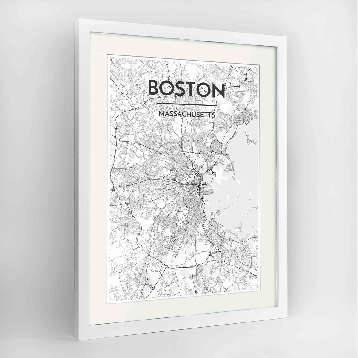 "Framed Boston Map Art Print 24x36"" Contemporary White frame Point Two Design Group"