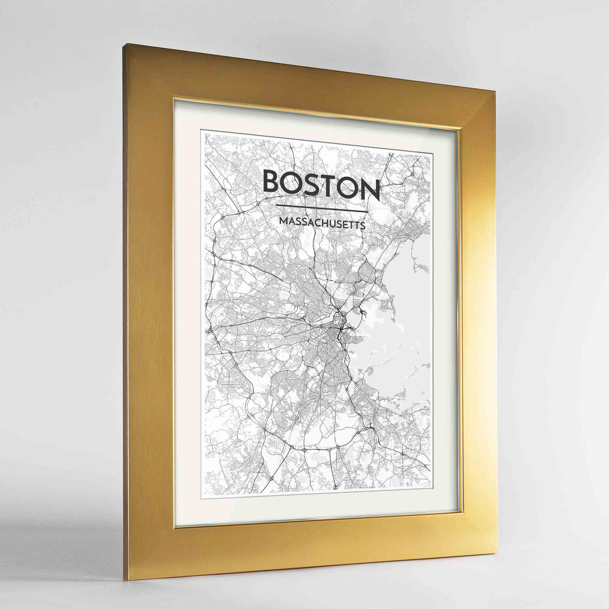 "Framed Boston Map Art Print 24x36"" Gold frame Point Two Design Group"