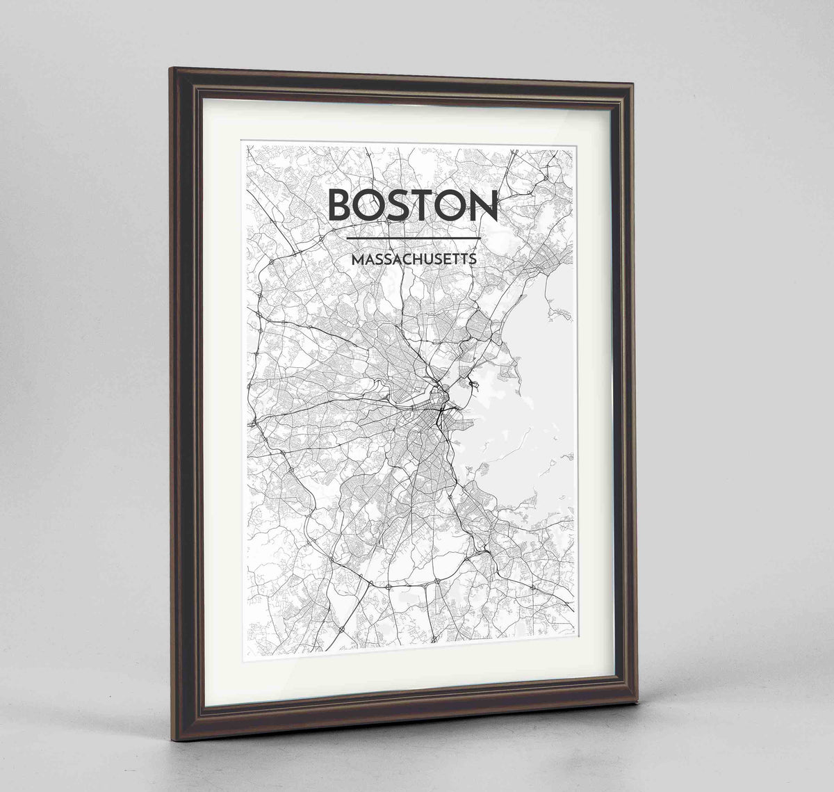 "Framed Boston Map Art Print 24x36"" Traditional Walnut frame Point Two Design Group"