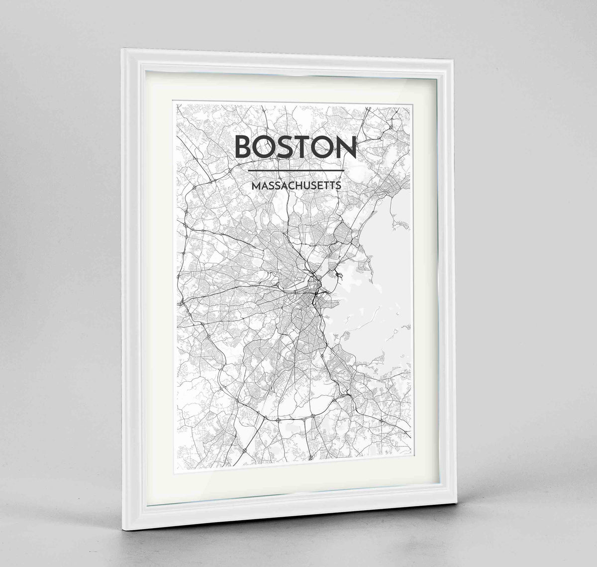 "Framed Boston Map Art Print 24x36"" Traditional White frame Point Two Design Group"