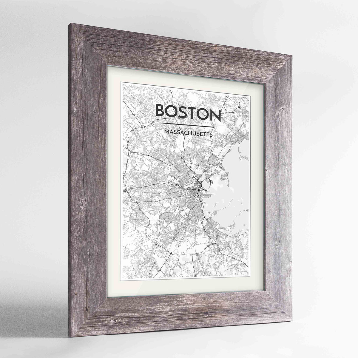 "Framed Boston Map Art Print 24x36"" Western Grey frame Point Two Design Group"