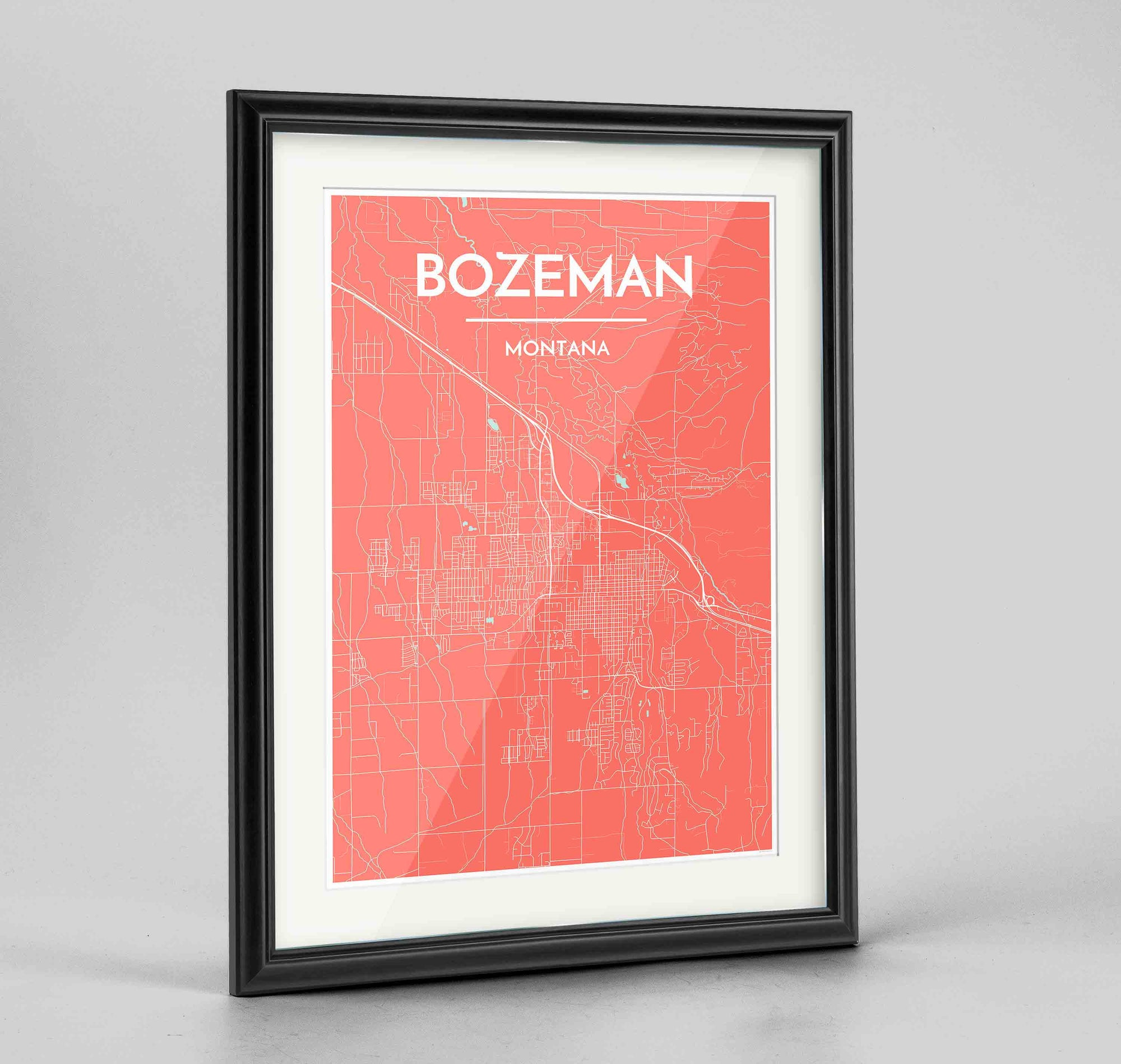 "Framed Bozeman Map Art Print 24x36"" Traditional Black frame Point Two Design Group"