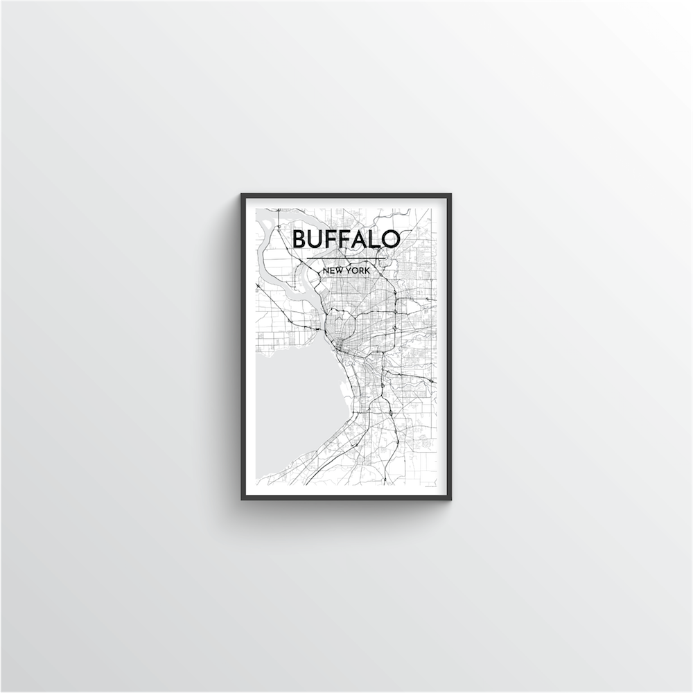 Buffalo Map Art Print - Point Two Design