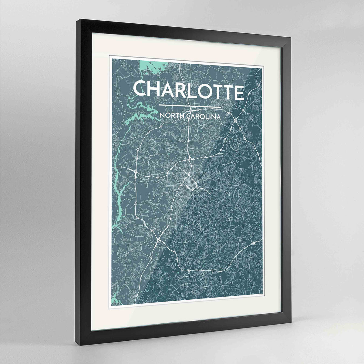 "Framed Charlotte Map Art Print 24x36"" Contemporary Black frame Point Two Design Group"