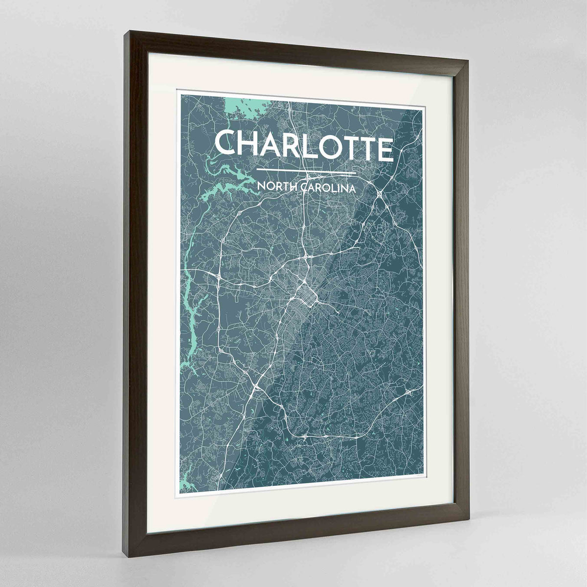 "Framed Charlotte Map Art Print 24x36"" Contemporary Walnut frame Point Two Design Group"