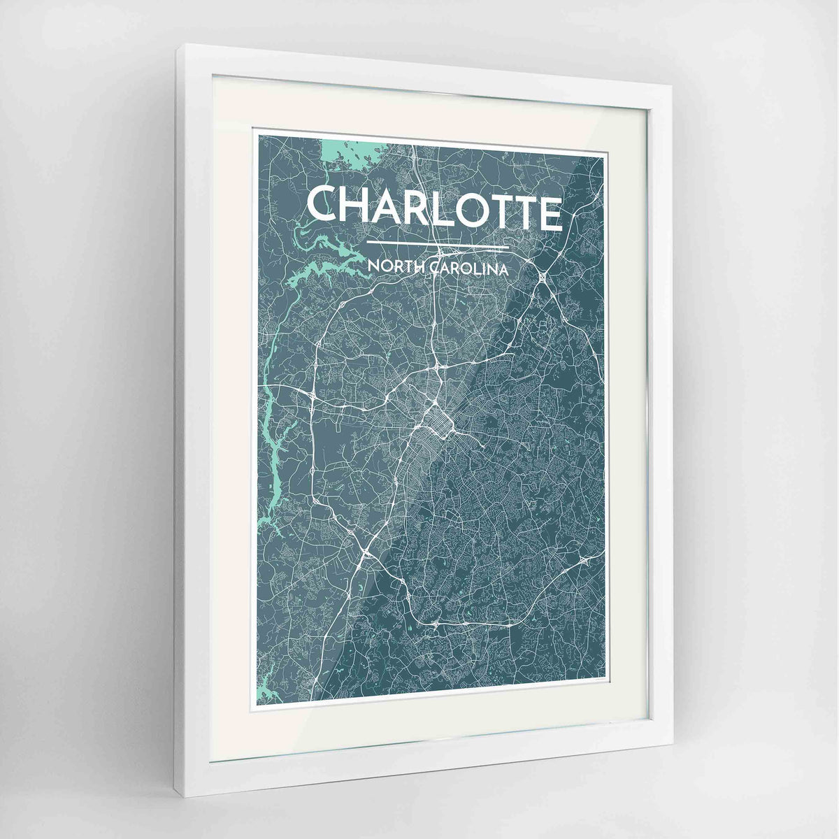 "Framed Charlotte Map Art Print 24x36"" Contemporary White frame Point Two Design Group"