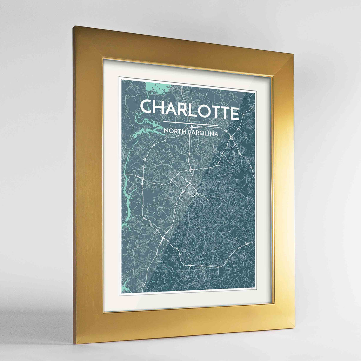 "Framed Charlotte Map Art Print 24x36"" Gold frame Point Two Design Group"
