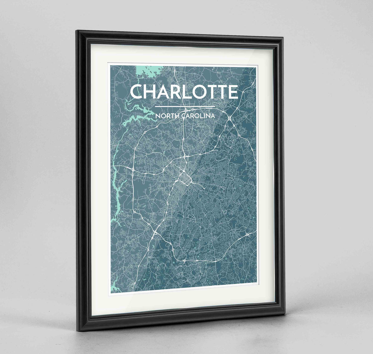 "Framed Charlotte Map Art Print 24x36"" Traditional Black frame Point Two Design Group"