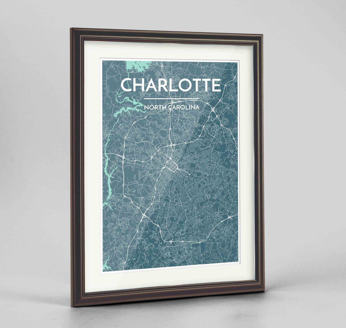 "Framed Charlotte Map Art Print 24x36"" Traditional Walnut frame Point Two Design Group"