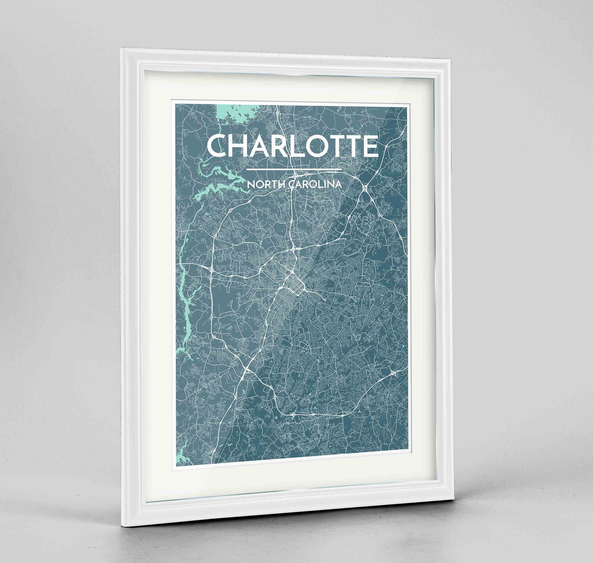 "Framed Charlotte Map Art Print 24x36"" Traditional White frame Point Two Design Group"