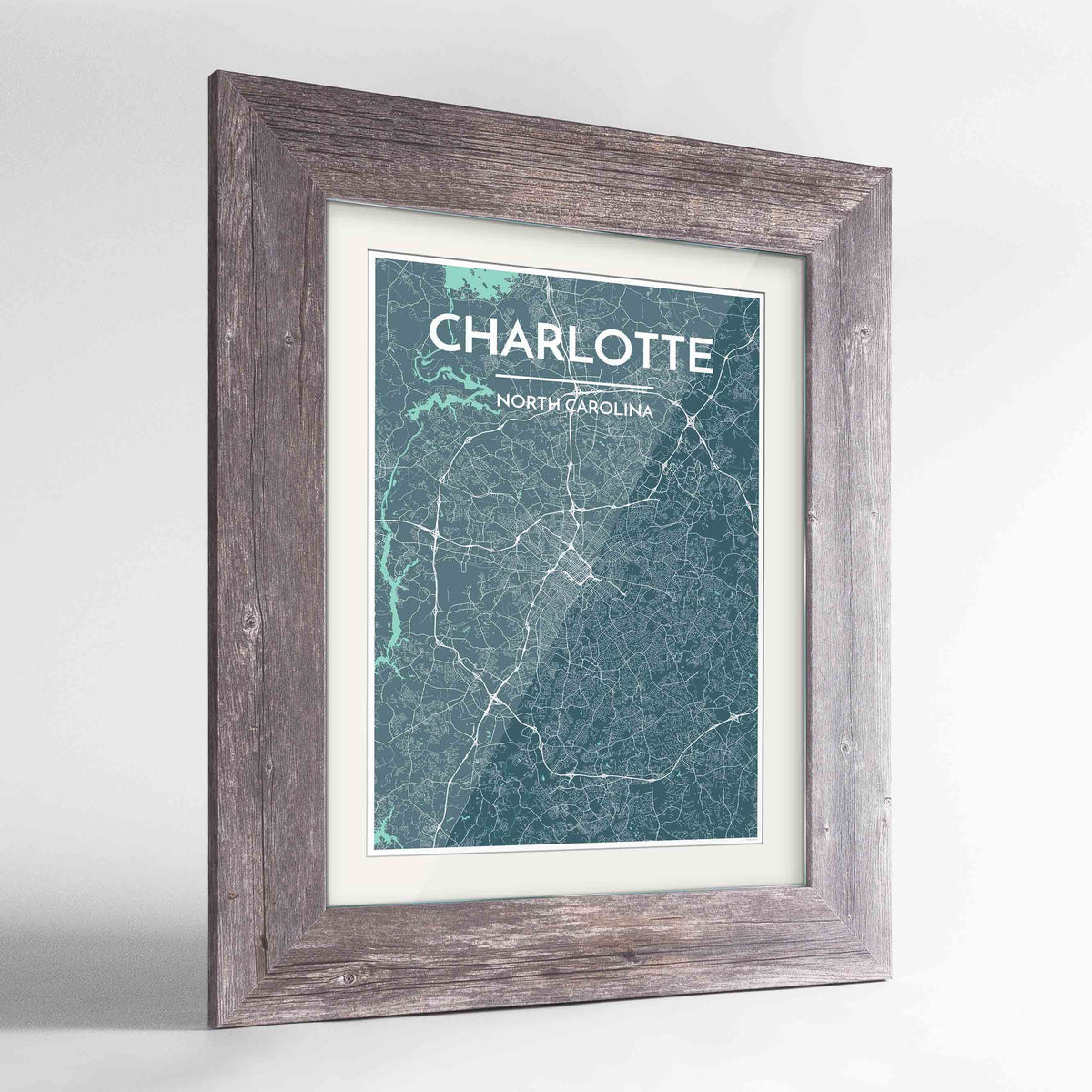 "Framed Charlotte Map Art Print 24x36"" Western Grey frame Point Two Design Group"