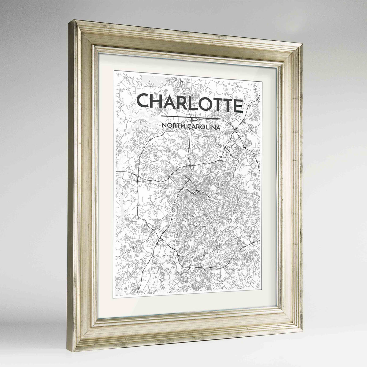 "Framed Charlotte Map Art Print 24x36"" Champagne frame Point Two Design Group"
