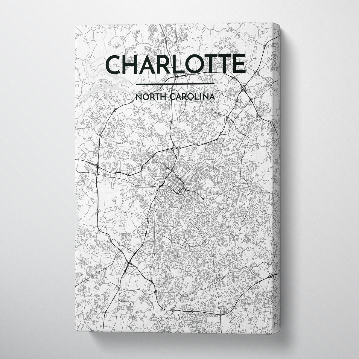 Charlotte Map Canvas Wrap - Point Two Design