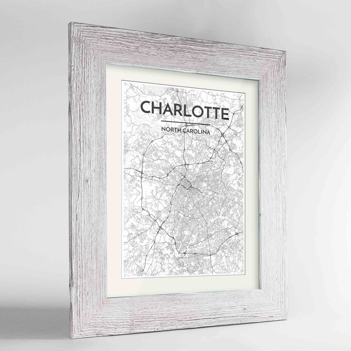 "Framed Charlotte Map Art Print 24x36"" Western White frame Point Two Design Group"