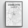 Charlotte Map Art Print - Point Two Design