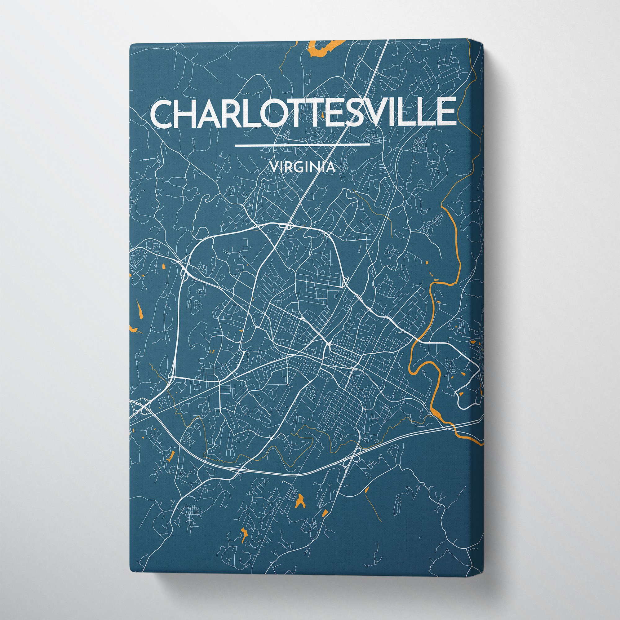 Charlottesville Map Art Print Map Canvas Wrap - Point Two Design