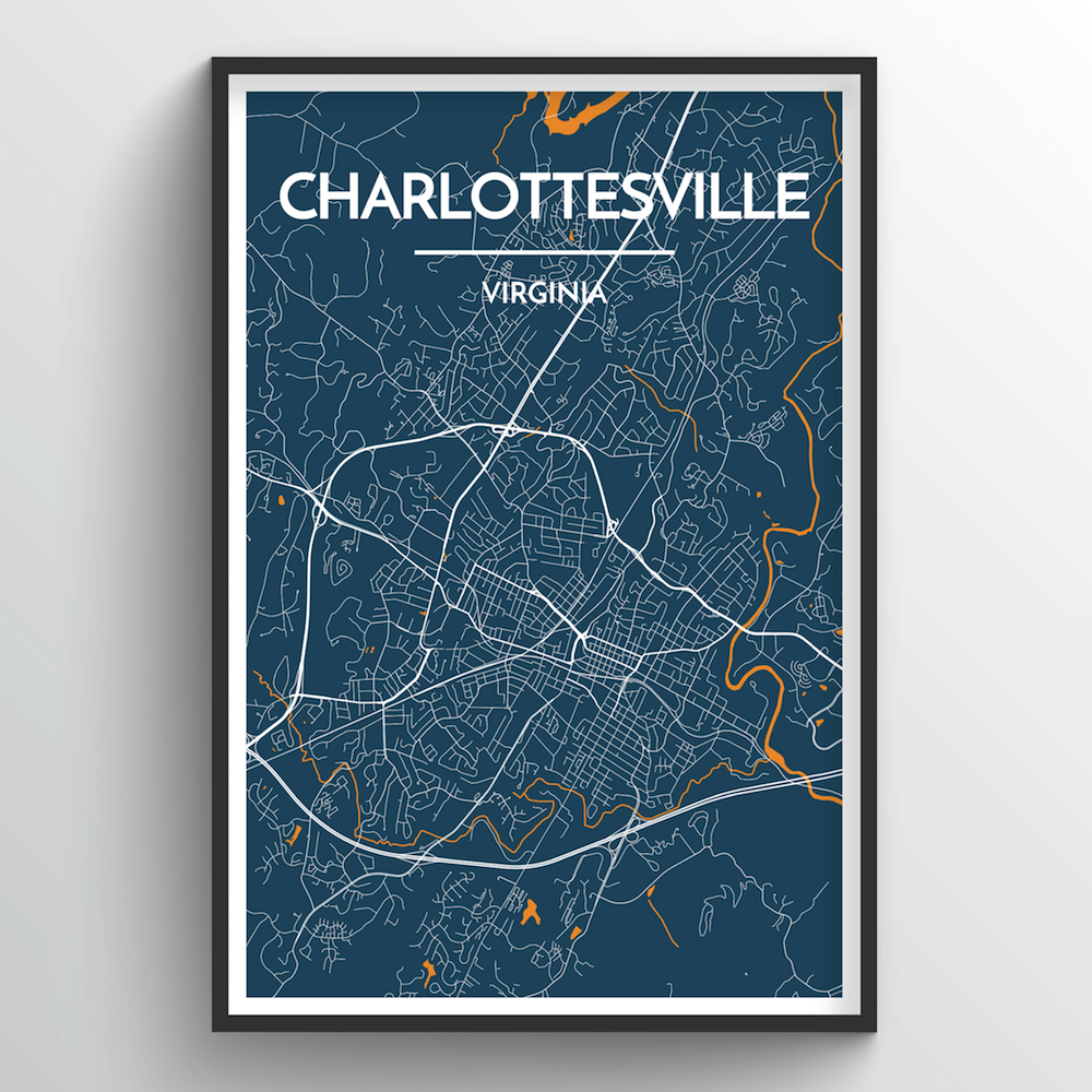 Charlottesville Map Art Print - Point Two Design