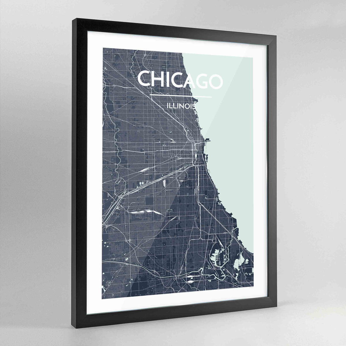 Framed Chicago Map Art Print - Point Two Design