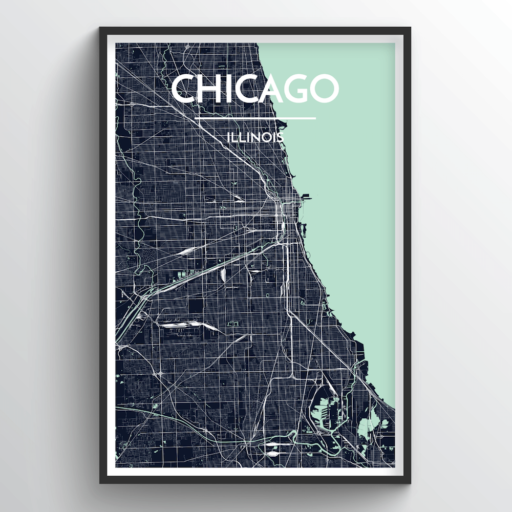 image relating to Printable Maps of Chicago identified as Chicago Town Map Artwork Prints - Substantial High-quality Custom made Generated Artwork