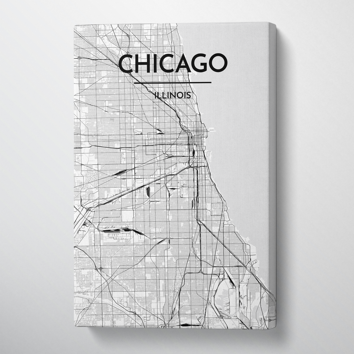 Chicago Map Canvas Wrap - Point Two Design