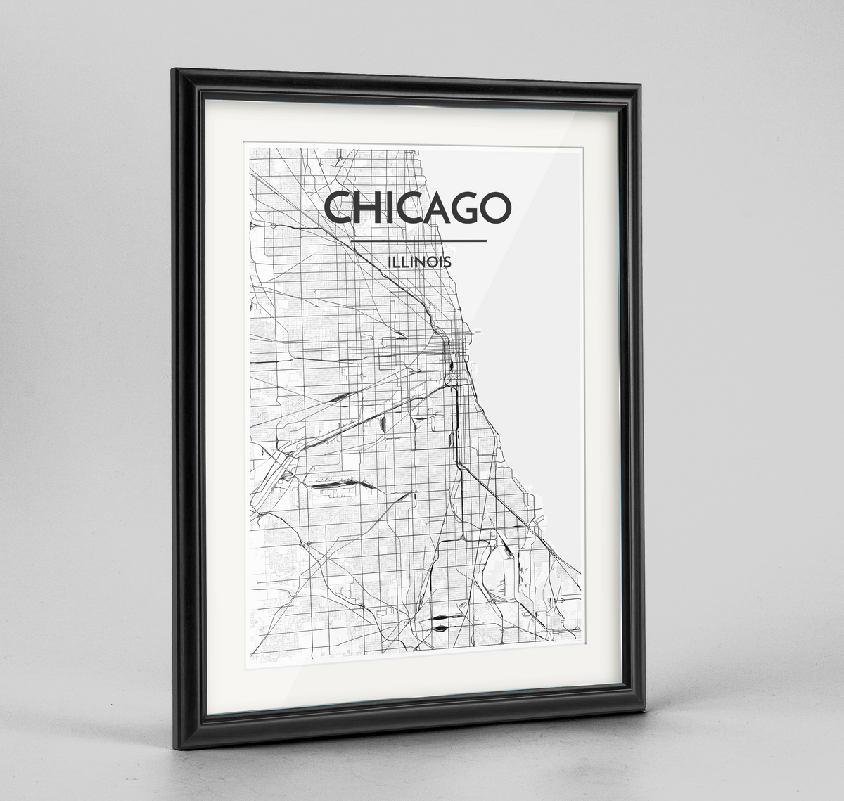 Chicago Map Art Print - Framed