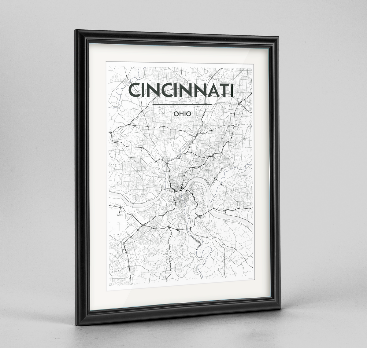 Framed Cincinnati Map Art Print
