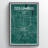 Columbus Map Art Print - Point Two Design