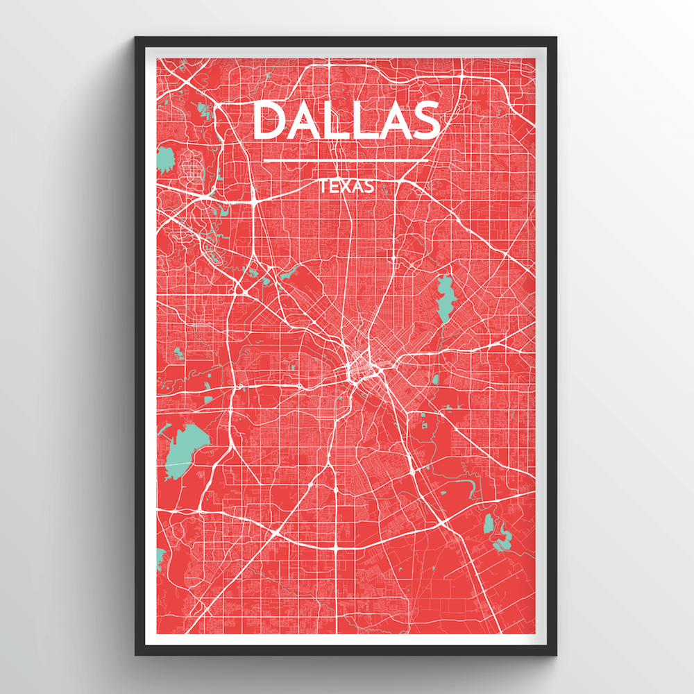 Dallas Map Art Print - Point Two Design