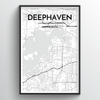 Deephaven Map Art Print - Point Two Design