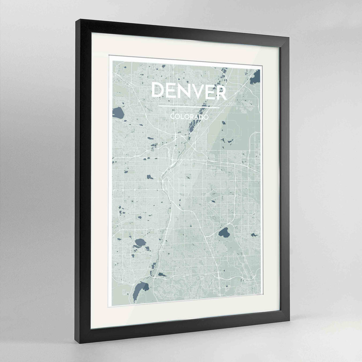 "Framed Denver Map Art Print 24x36"" Contemporary Black frame Point Two Design Group"