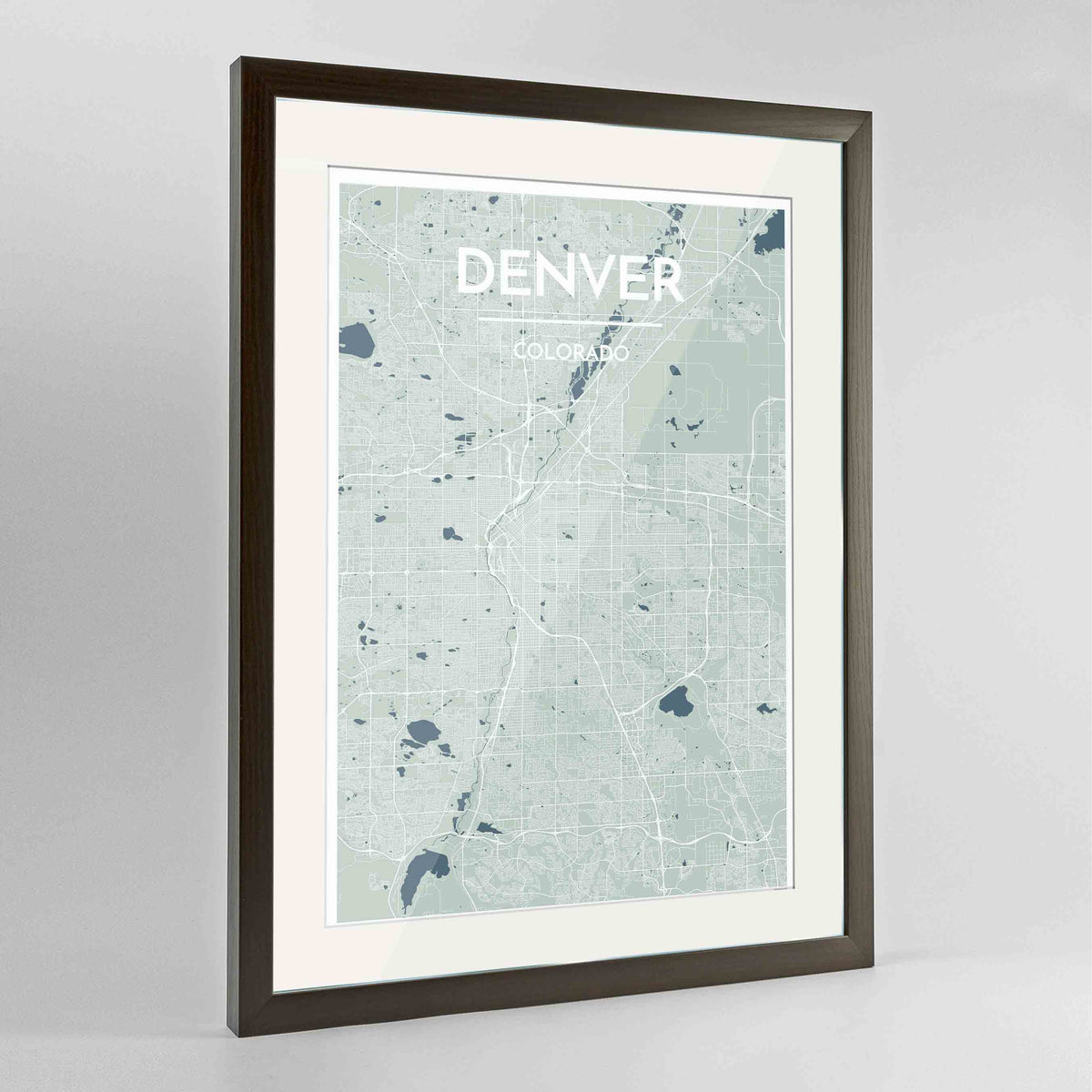 "Framed Denver Map Art Print 24x36"" Contemporary Walnut frame Point Two Design Group"
