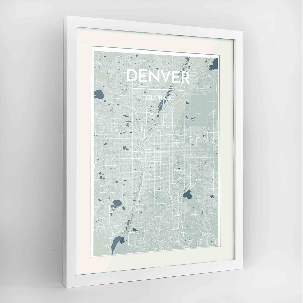 "Framed Denver Map Art Print 24x36"" Contemporary White frame Point Two Design Group"