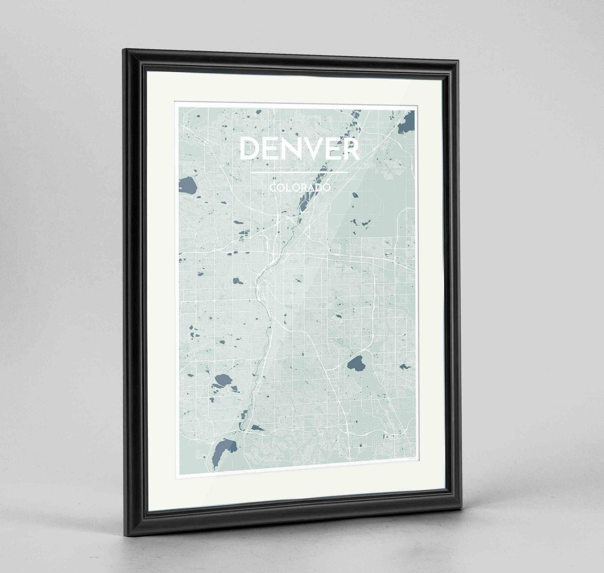 "Framed Denver Map Art Print 24x36"" Traditional Black frame Point Two Design Group"
