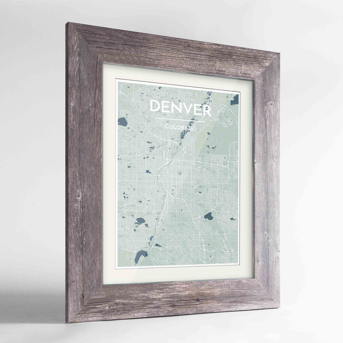 "Framed Denver Map Art Print 24x36"" Western Grey frame Point Two Design Group"