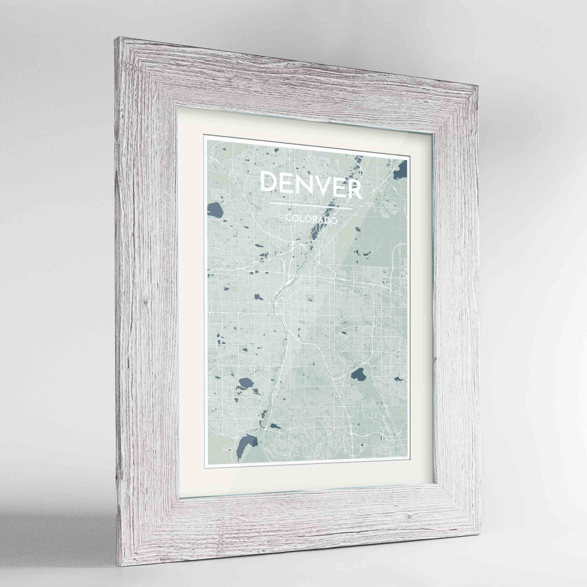 "Framed Denver Map Art Print 24x36"" Western White frame Point Two Design Group"
