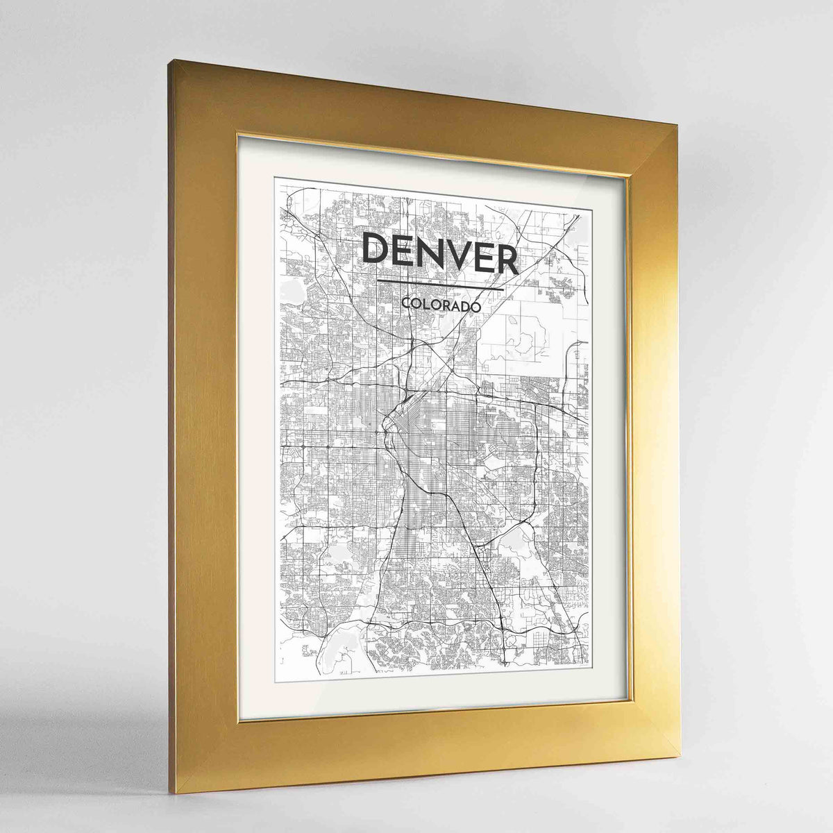 "Framed Denver Map Art Print 24x36"" Gold frame Point Two Design Group"