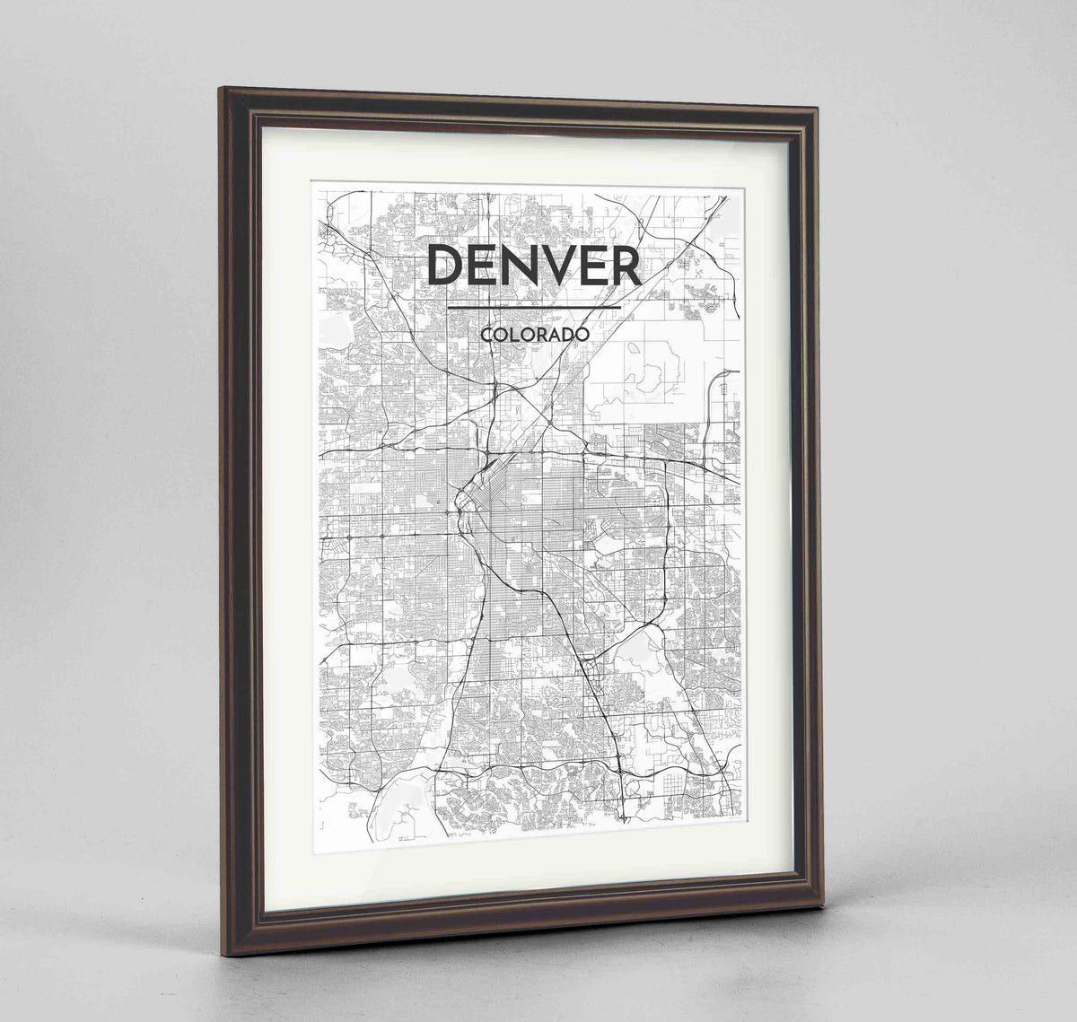"Framed Denver Map Art Print 24x36"" Traditional Walnut frame Point Two Design Group"