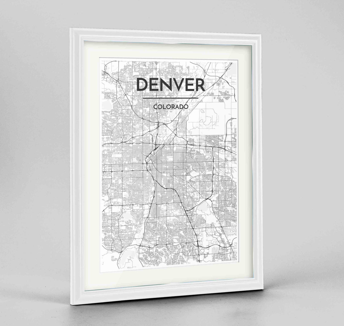 "Framed Denver Map Art Print 24x36"" Traditional White frame Point Two Design Group"